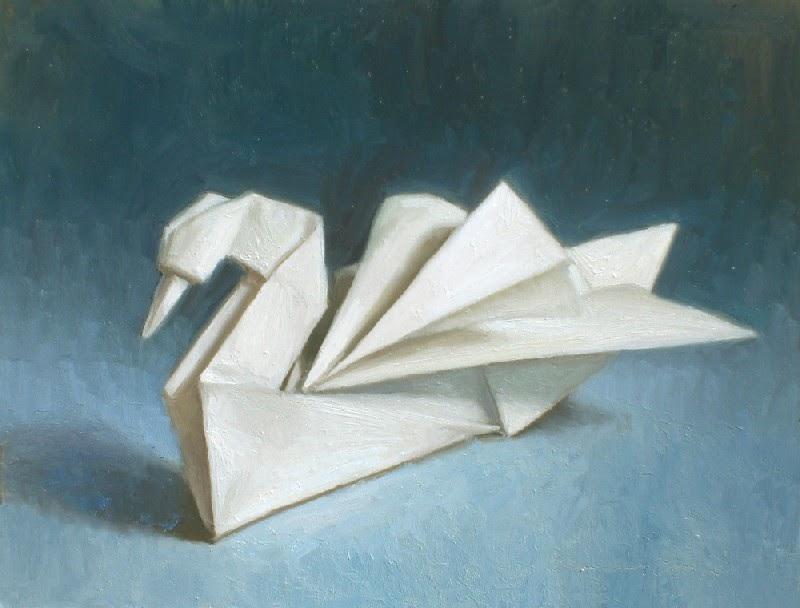 Debbies Art Space Origami Swan Painting
