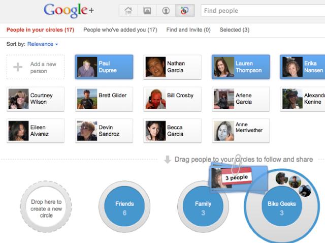 Screenshot: Google+ Circles Editor