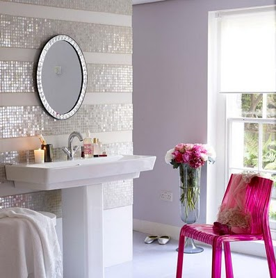 Here Is A Modern Shabby Chic Look Love The Pink Chair And Mirror Mosaic