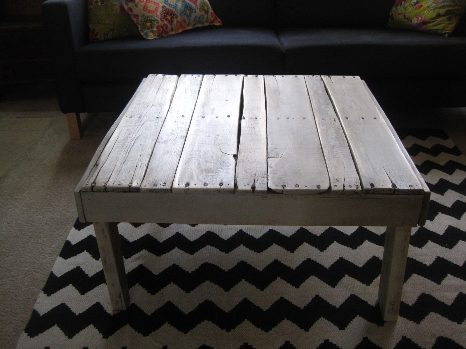 Pallet coffee table fabulously flawed pallet coffee table geotapseo Gallery