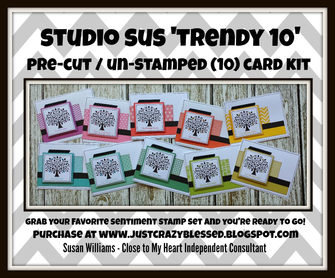 'Trendy 10' Pre-Cut (10) Card Kit!