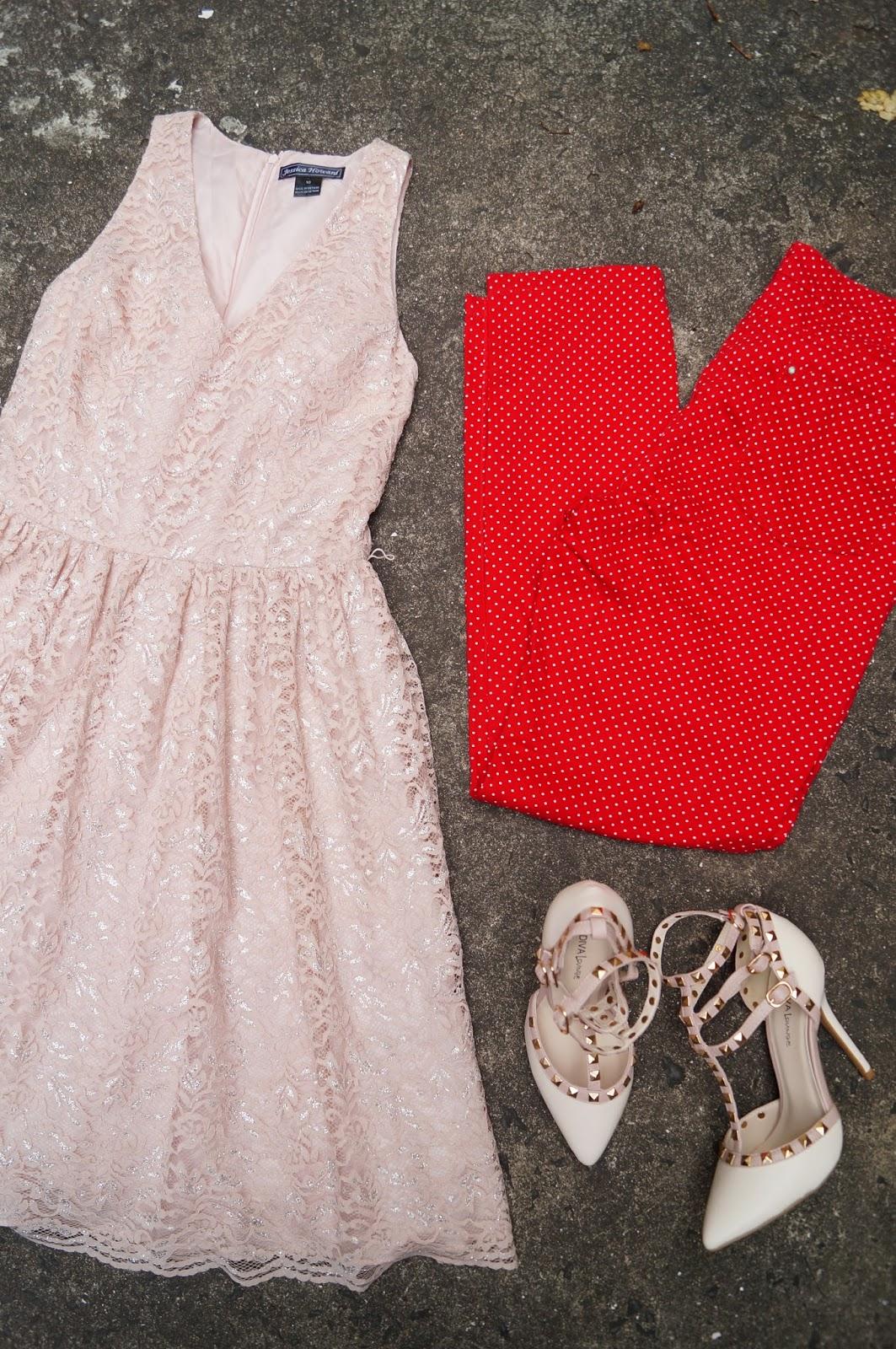 Lace Dress, Gladiator Heels