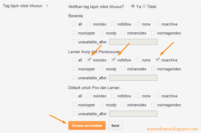 Cara Mengatur Tag Tajuk Robot Khusus Pada Blogspot