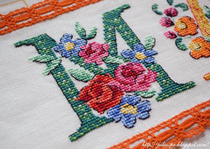 """алфавит """"Бабушка"""", Парижские вышивальщицы, les brodeuses parisiennes, журнал """"Вышиваю крестиком"""" №5 2015, французская вышивка, полотенце с вышивкой крестом май"""
