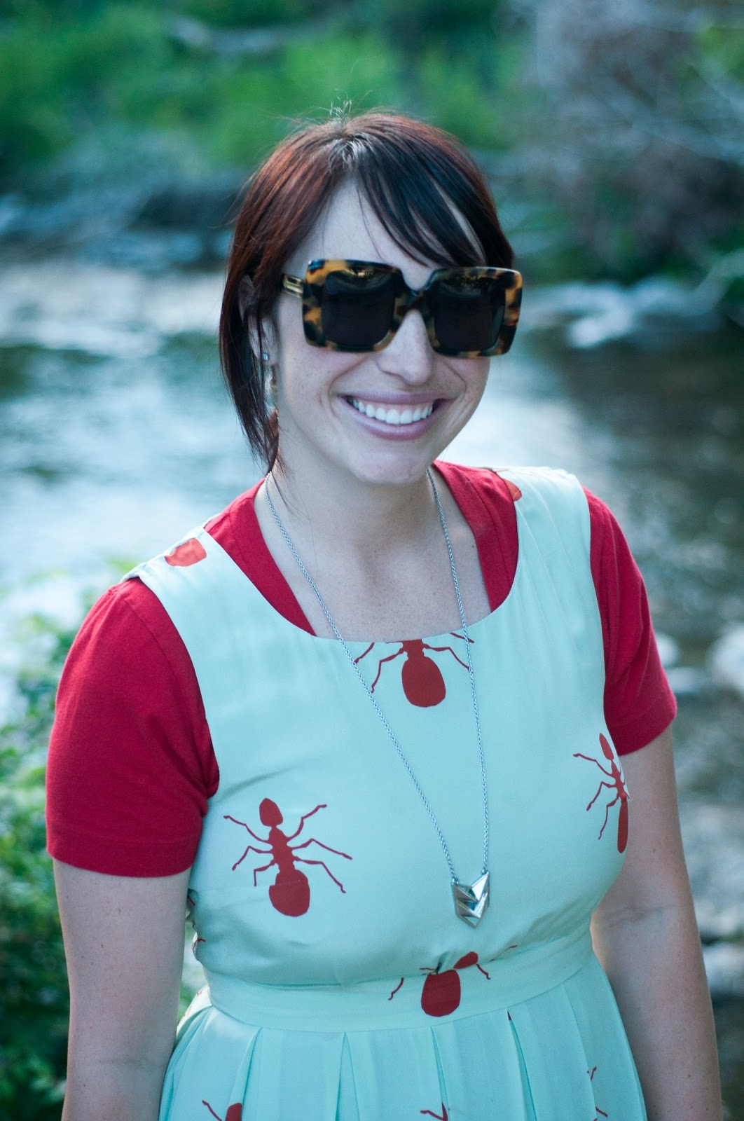 style blog, fashion blog, karen walker sunglasses, charlotte taylor, Rebecca minkoff, ant dress, mint dress, american apparel tee