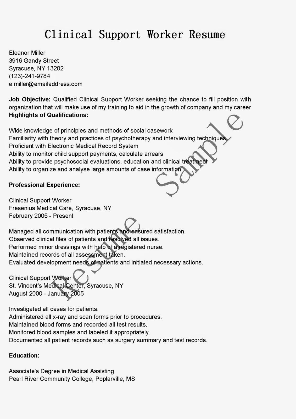 resume samples clinical support worker resume sample