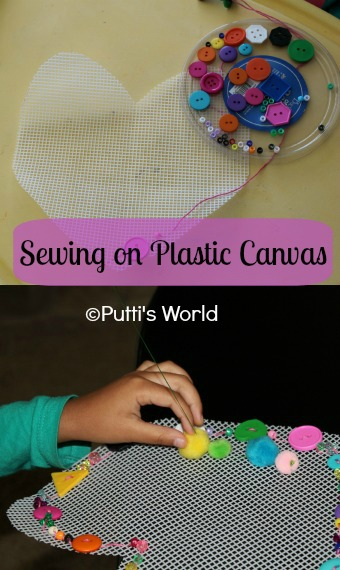 Kids Sewing on Heart Plastic Canvas
