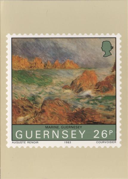 Renoir painting on a stamp - Marine Guernsey - rocky bay