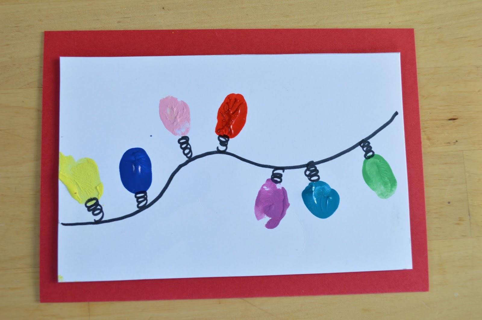 Postales de navidad guirnalda de luces elenarte for Tarjetas de navidad hechas por ninos