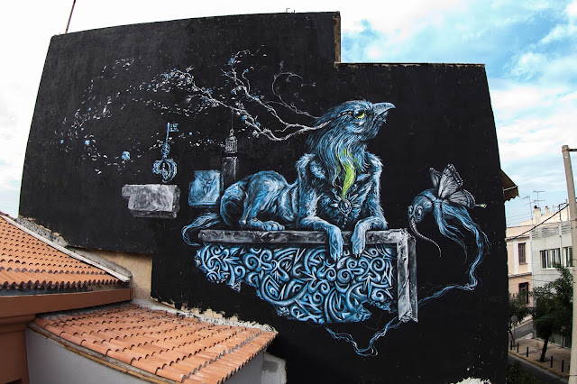 Street Art Mural Painted By Kraser Tres On The Streets of Athens, Greece.