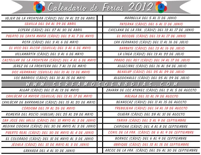 Ser famoso en 8 d as calendario de ferias 2012 for Calendario ferias