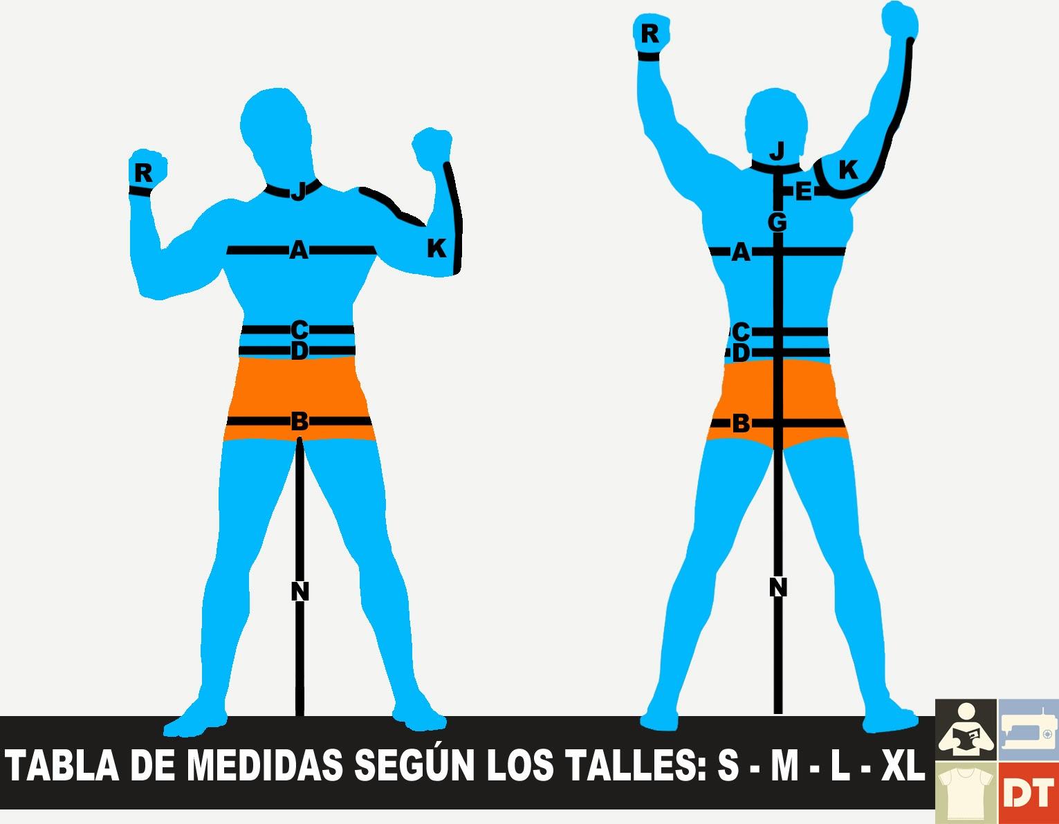 Tabla de medidas: Hombre S - M - L - XL - Coser es fácil