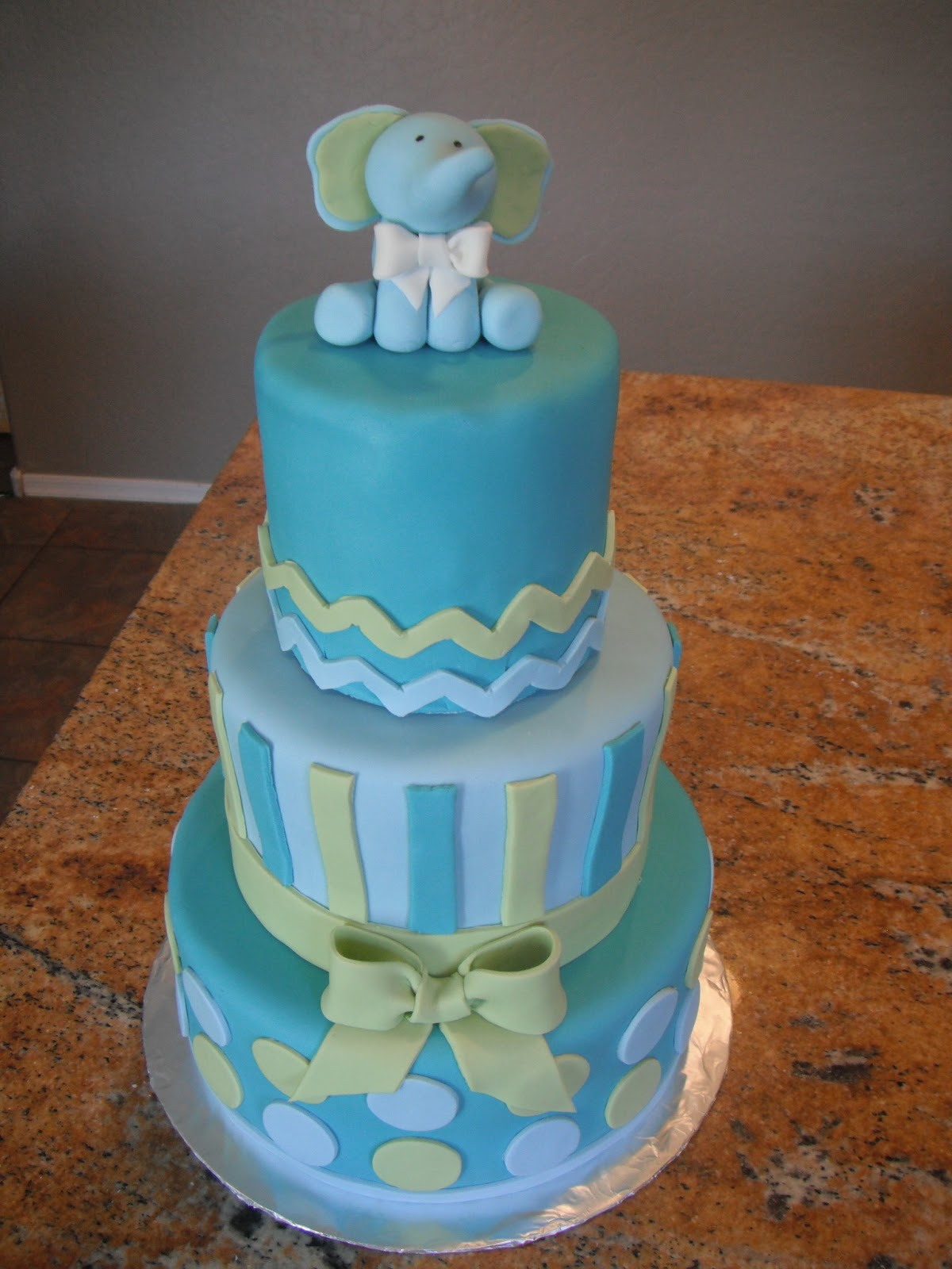 Baby Blue And Tiffany Blue Baby Shower Cake