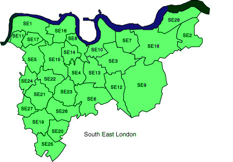 South East London Region City Map Map of London Political Regional