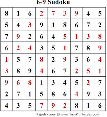 6-9 Sudoku (Fun With Sudoku #148) Solution
