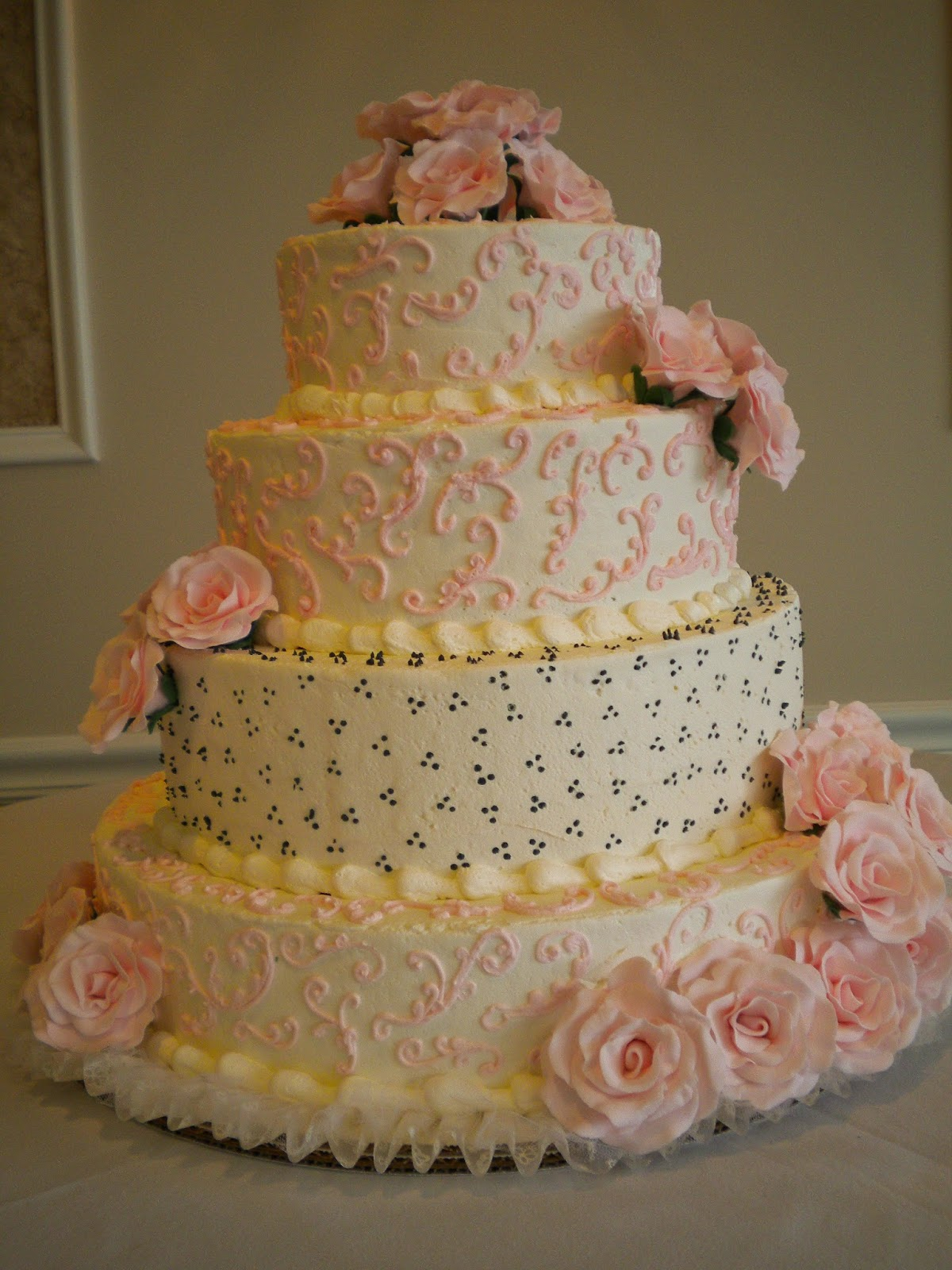 Gourmet Specialtys Pink Rose Wedding Cake
