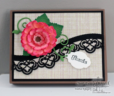 Our Daily Bread Designs, ODBD, Diana Nguyen, Pretty posies, leafy edged borders, flower, box, envelope punch board