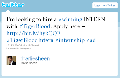 Charlie Sheen intern tweet