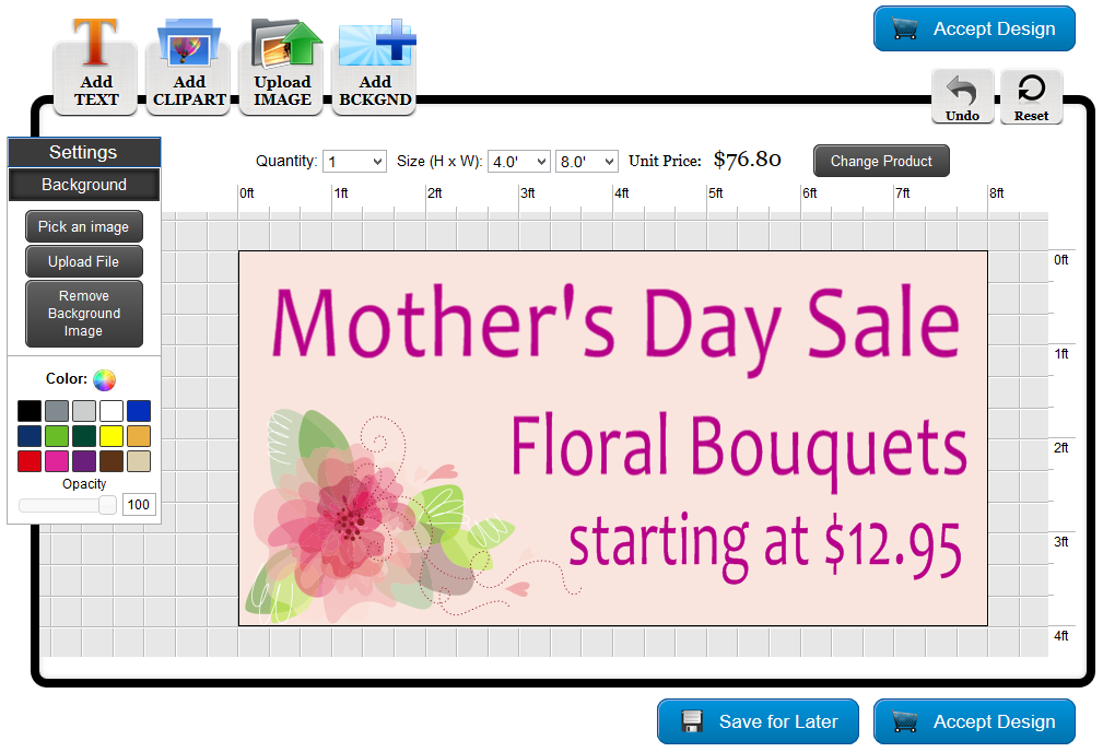 Mother's Day Banner Template in the Online Designer | Banners.com