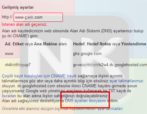türkçe domaini bloggera yönlendirme