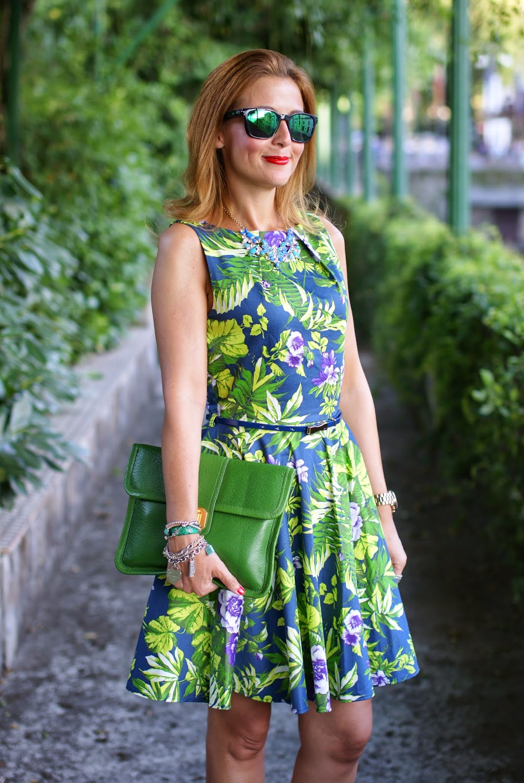 Closet dress, floral print dress, Oakley mirror sunglasses, Fashion and Cookies, fashion blogger