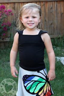 Refashioned Black Tank Top for a Little Girl
