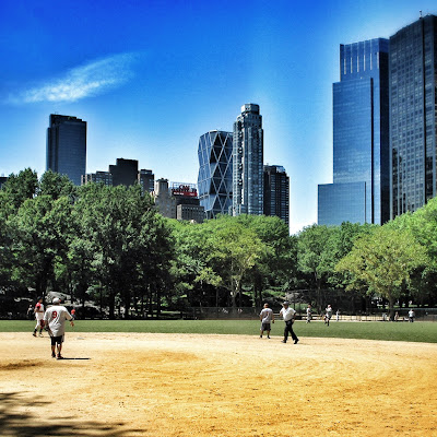 baseball in central park in new york city during summer