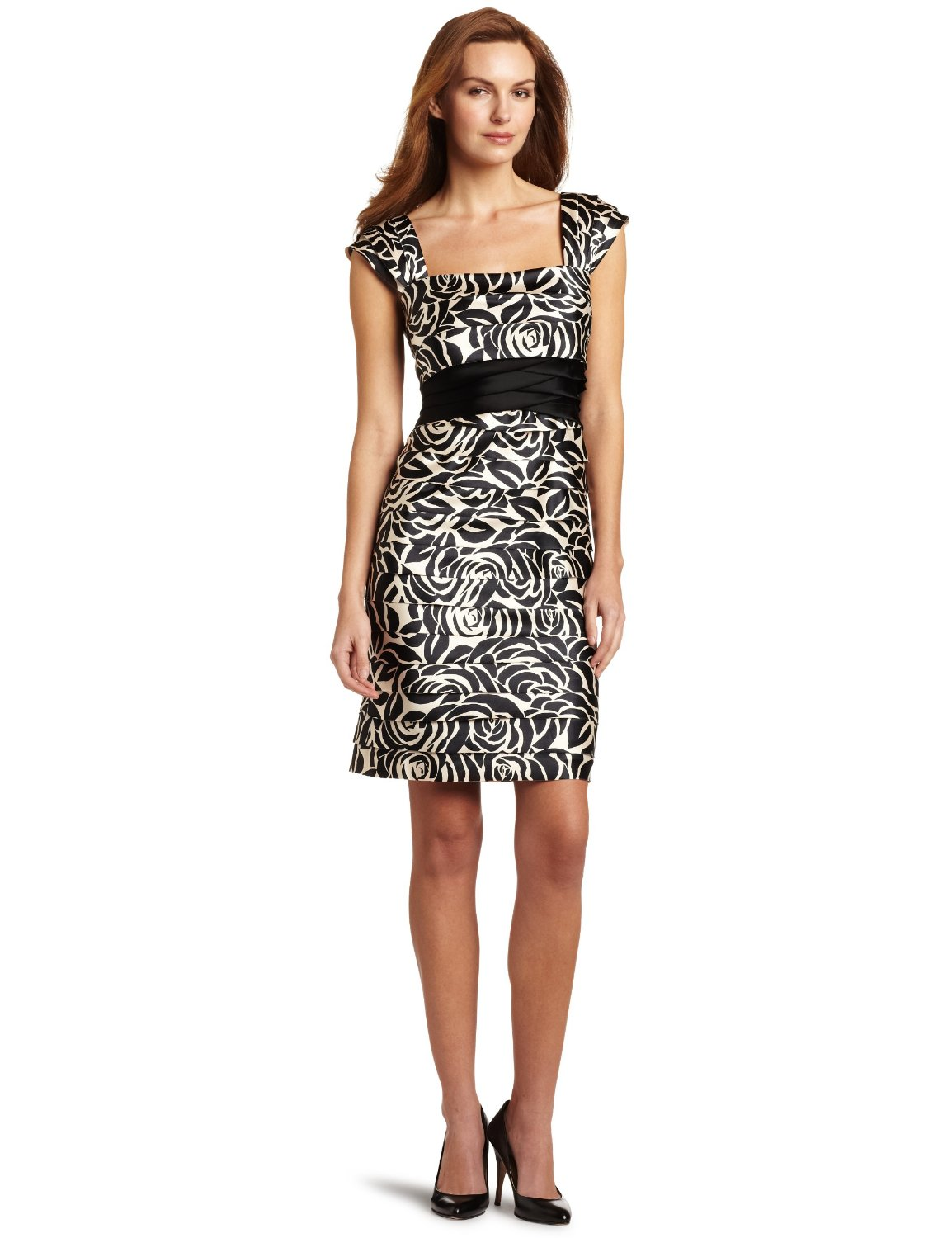 dress4cutelady printed stretch satin shutter dress jones new york. Black Bedroom Furniture Sets. Home Design Ideas