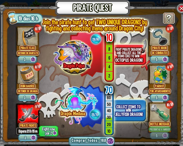 retos de busqueda pirata de dragon city