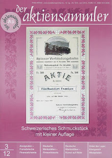 front cover of der AktienSammler magazine depicting a share of the Spiezer Verbindungsbahn