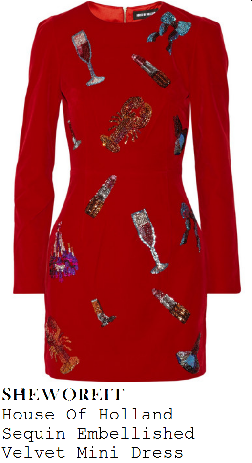 chloe-jasmine-red-lipstick-champagne-sequin-embellished-velvet-long-sleeve-mini-dress-x-factor-80s-week