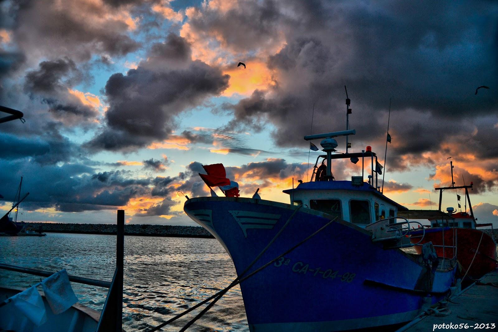 Flota pesquera amarrada al muelle de Rota