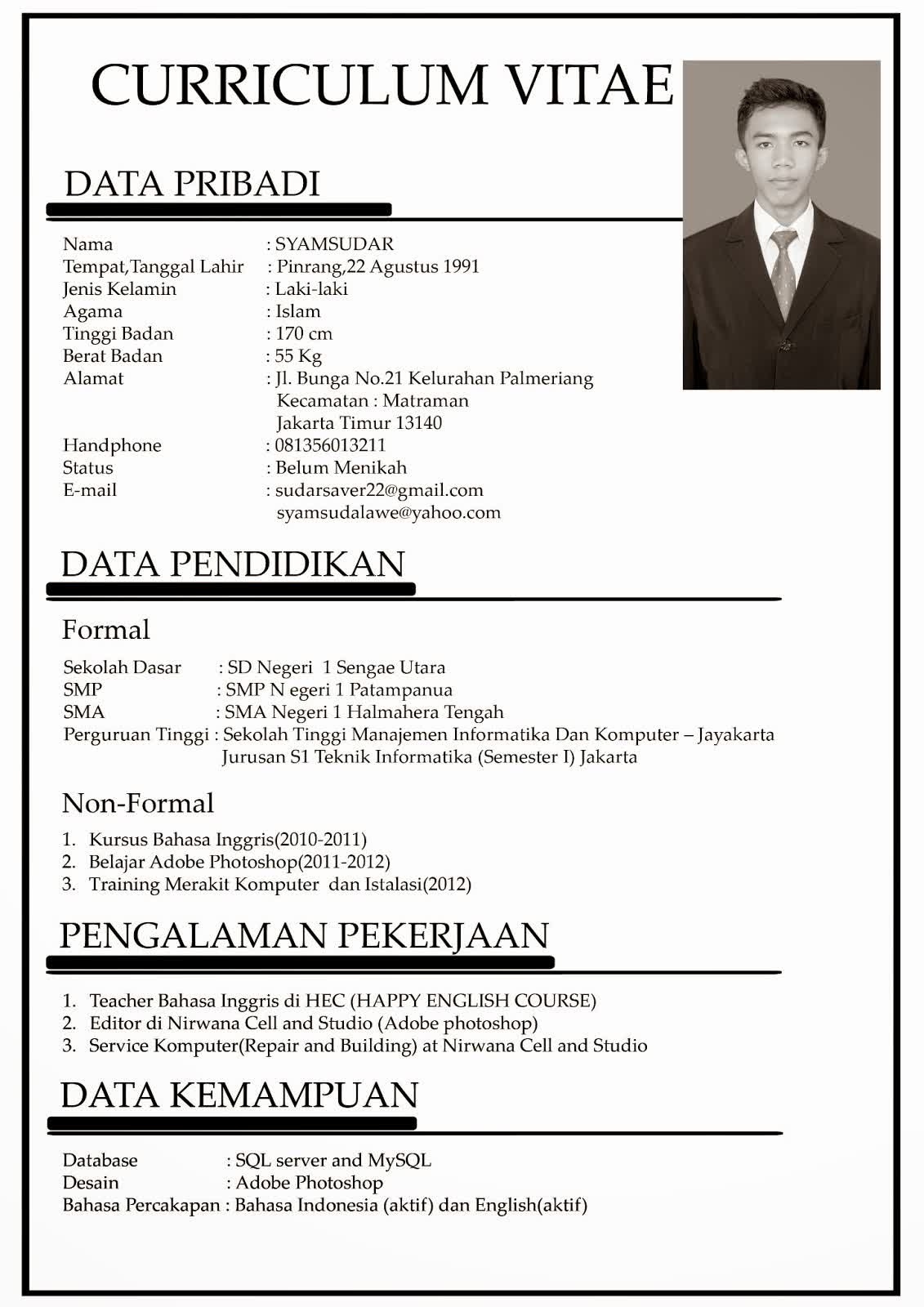 contoh singkat curriculum vitae bahasa indonesia