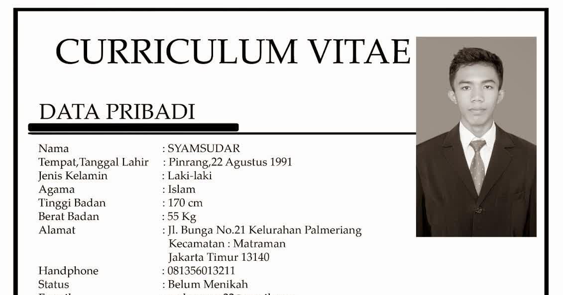 curriculum vitae indonesia olharecia