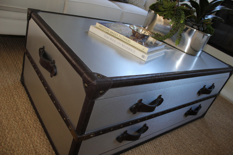 Bdg style silver sage dream Silver trunk coffee table
