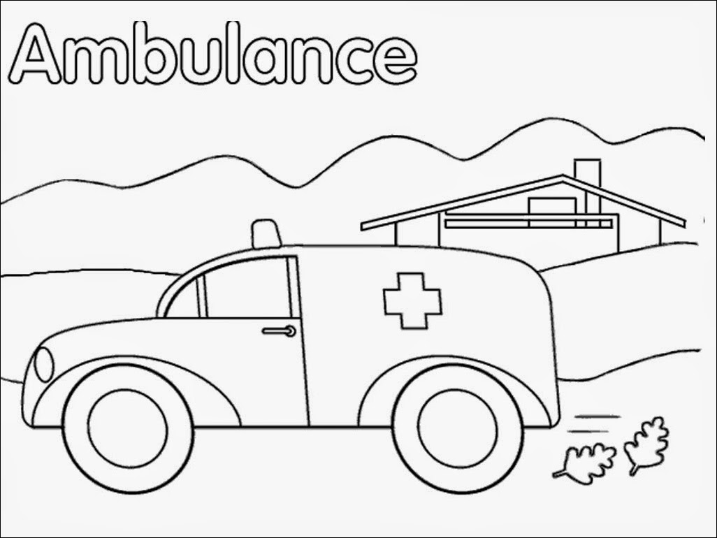Realistic Ambulance Coloring Pages
