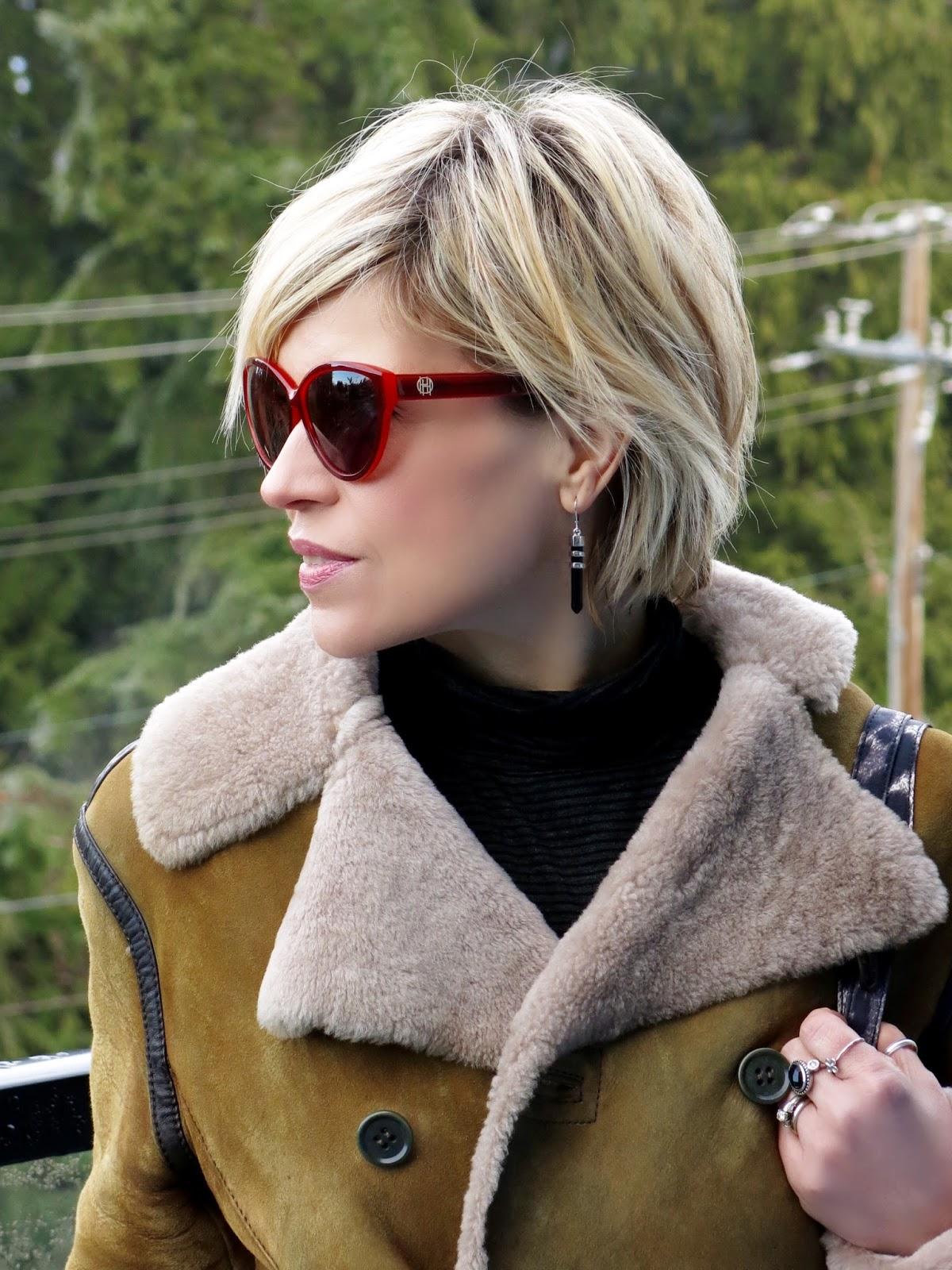 Diesel sheepskin coat, House of Harlow 1960 sunglasses