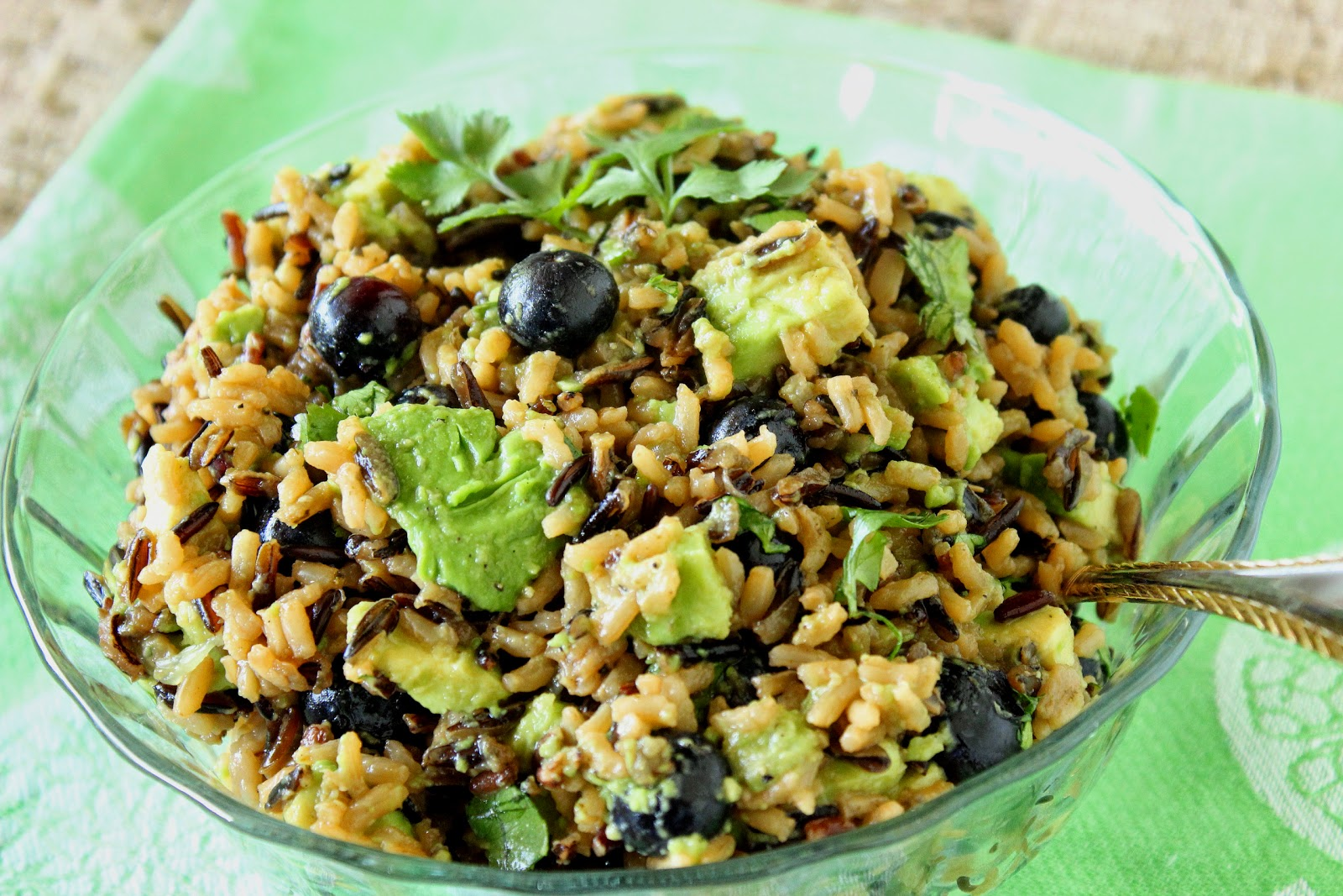 Avocado, Blueberry and Wild Rice Recipe via Kudos Kitchen by Renee