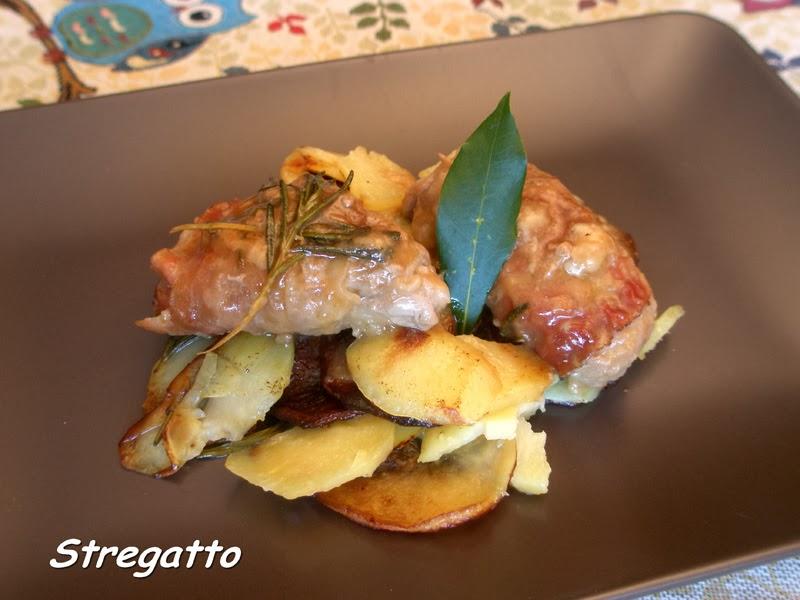 involtini al marsala su letto di patate rosticciate
