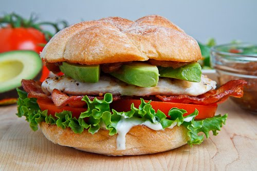 Grilled Chicken and Club Sandwich with Avocado and Chipotle Caramelized Onions