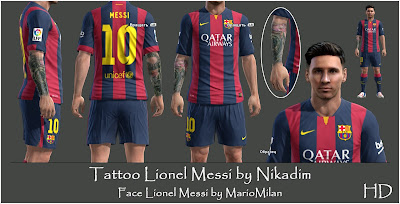 PES 2013 Messi with HD real tattoos by Nikadim