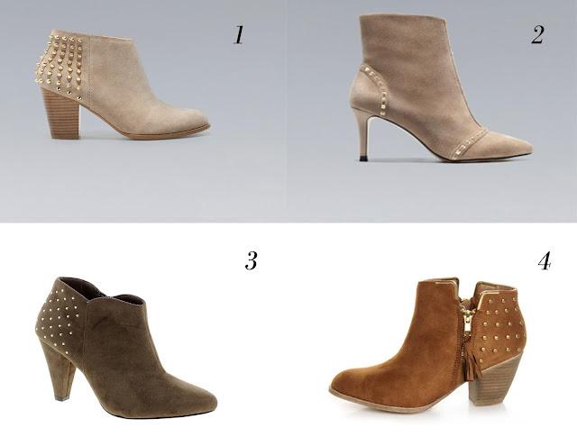 Diferentes tipos de botines en marrón con tachuelas y tacón