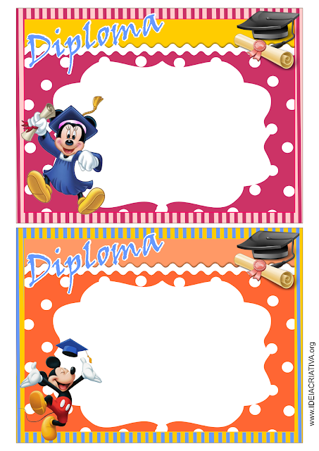 Diploma Educação Infantil Mickey e Minnie