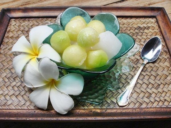 Light dessert for summer-Melon in sweetened coconut milk