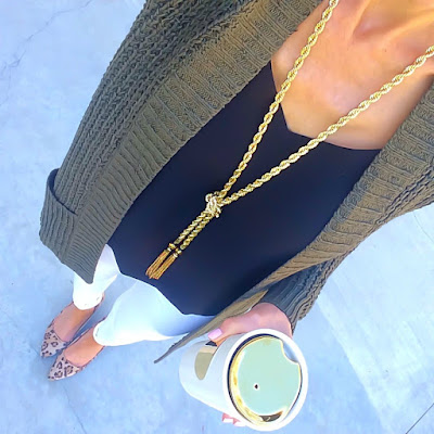 Express Olive Cardigan, Black Barcelona Cami, Gold Tassel Necklace, White Jeans, Leopard Wedge Pumps