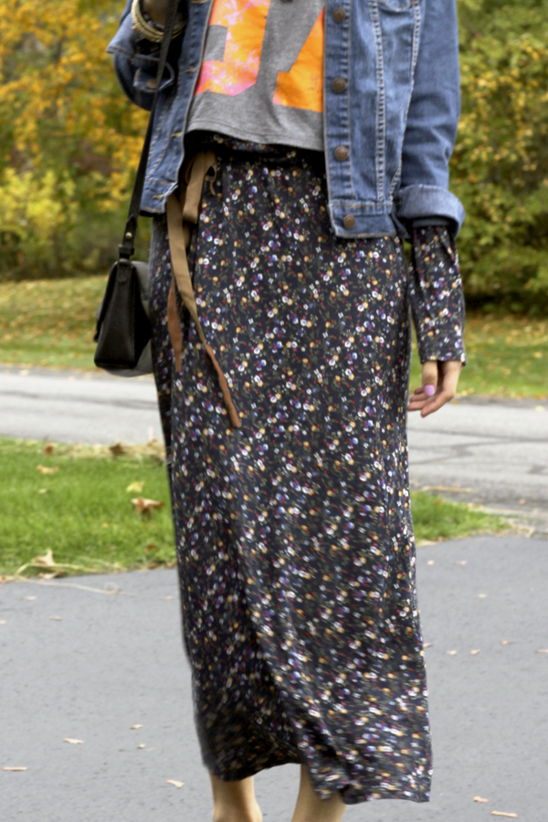 maxi dress, zara dress, floral dress, maxi floral dress, long dress, favorite zara dress, how to wear maxi dress, denim jacket, denim and floral, floral dress and denim jacket, tom ford sunglasses, hm beanie, flats