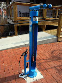 Bike maintenance tools on the Fayetteville, AR bike path