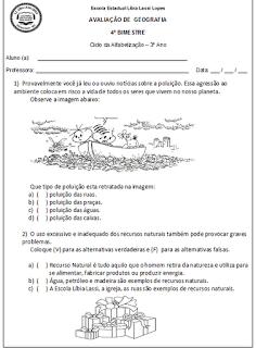avaliação-geografia-3º ano