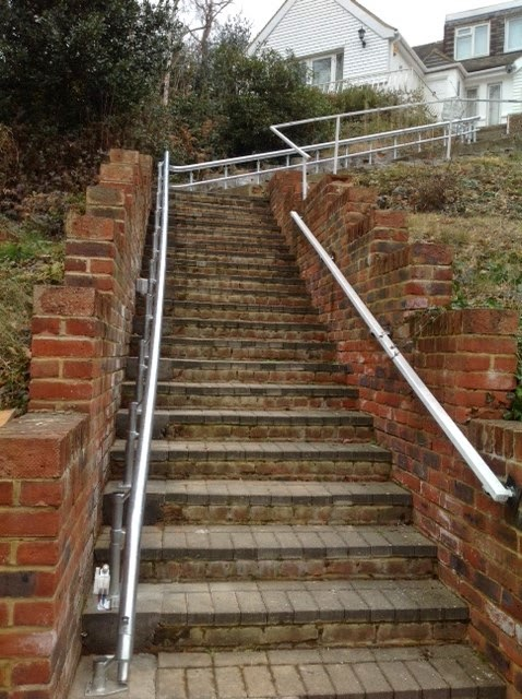 Outdoor stairlift supplied and installed by Dolphin Mobility
