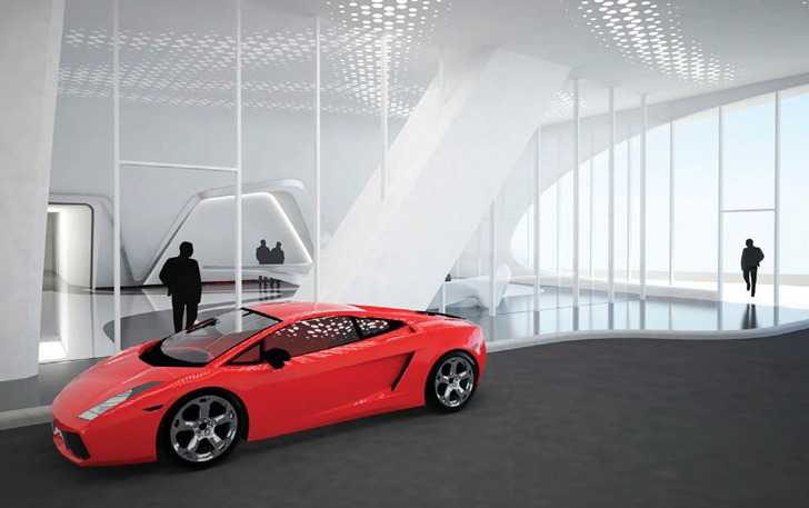 Car in the One Thousand Museum by Zaha Hadid Architects